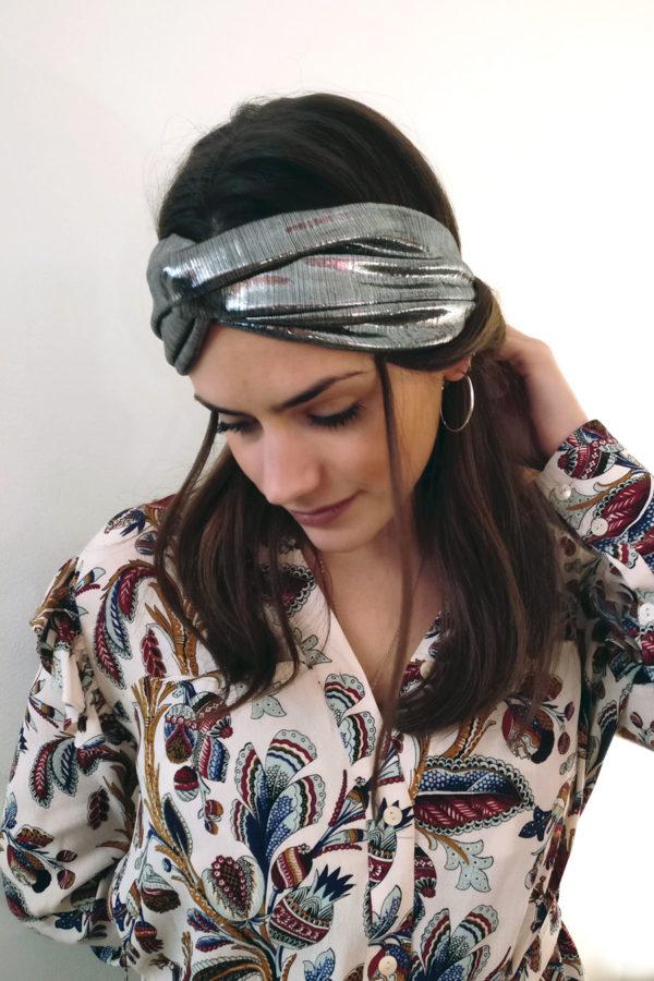 Headband lamé argent